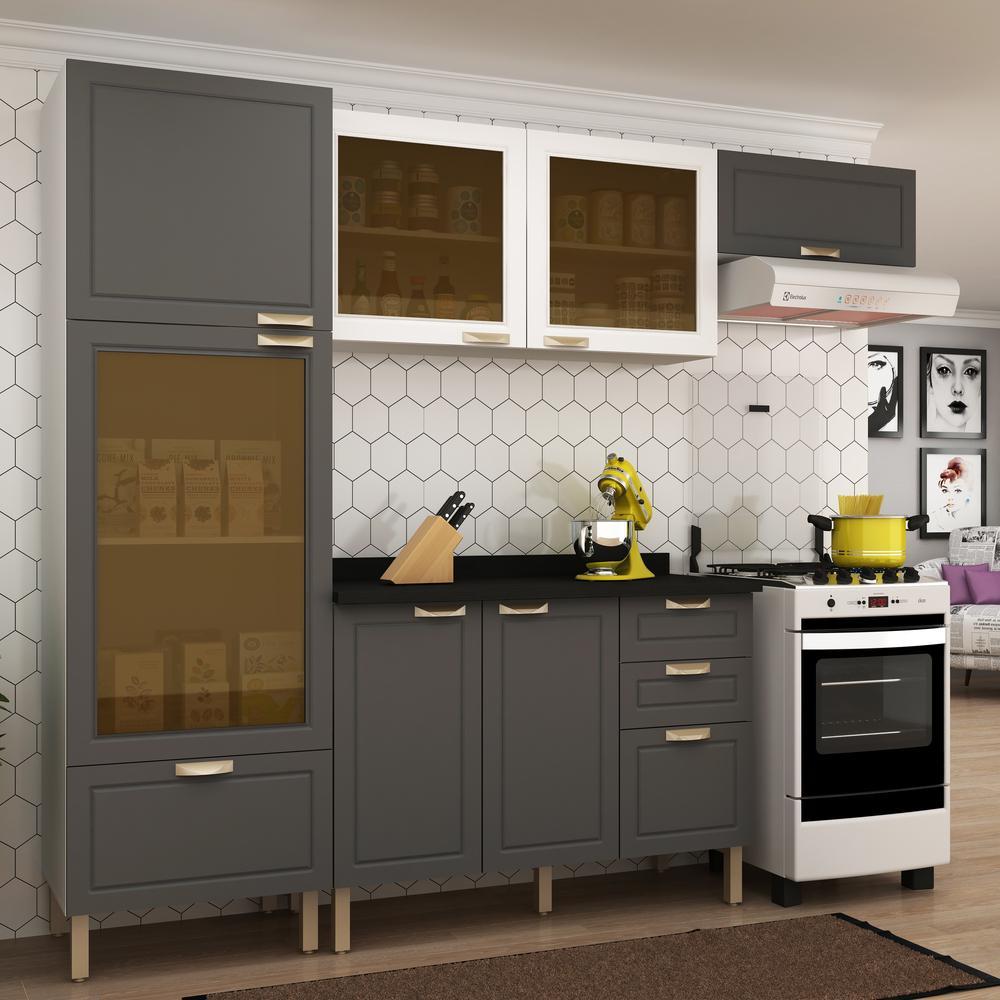 Cozinha Completa 5 peças Americana Multimóveis 5686 Branco/Grafite