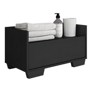 Gabinete Armário Banheiro 60 cm com Pés Quadrados Multimóveis Preto