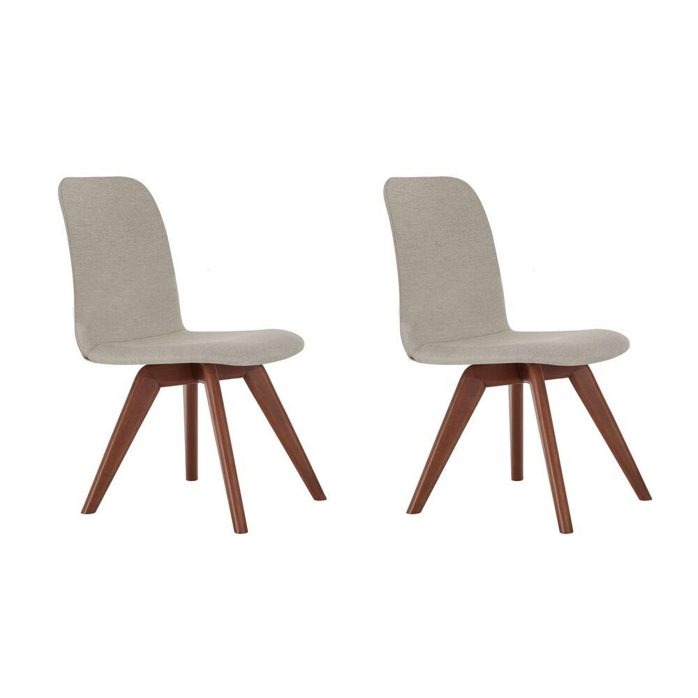 Conjunto de 02 Cadeiras de Jantar Fixa Bari Bege Escuro 4613 Base Madeira cor Imbuia