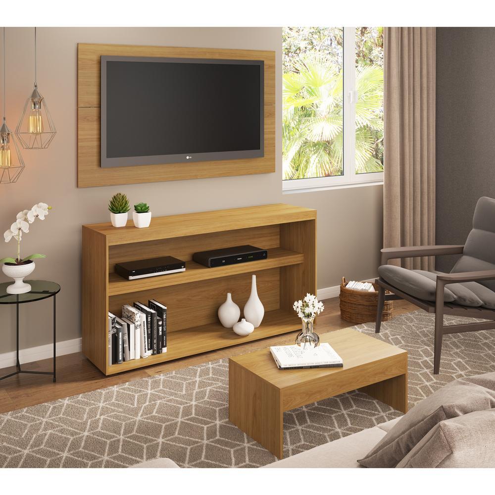 Rack c/Painel TV até 50 Pol.Mesa de apoio Atualle Multimóveis Natural Texturizado REF.2839