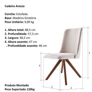 Cadeira de Jantar Giratória Arrezo Bege Claro 4612 Base Madeira cor Imbuia