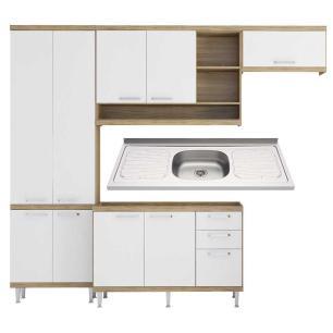 Cozinha Compacta com Pia Inox 5 peças Sicília Multimóveis MP3188 Madeirado/Branco