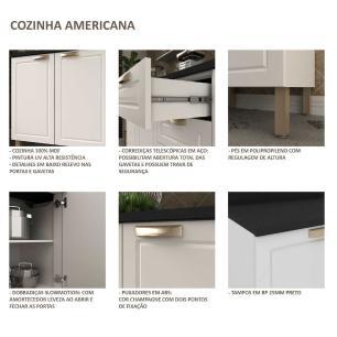 Cozinha Completa 8 peças Americana Multimóveis 5664SMF Branco/Grafite