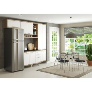 Cozinha Completa Compacta com Armário e Balcão com Tampo Lara Multimóveis Argila/Branco