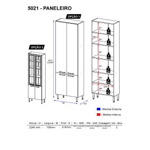Paneleiro  Multimóveis Toscana 5021-VD Argila/Branco c/4 portas e vidro