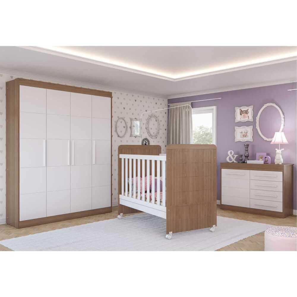 Quarto Completo Infantil Valentina Multimóveis Carvalho/Branco com Berço mini cama + Guarda roupa 4 portas + cômoda 1 Porta e 4 Gavetas