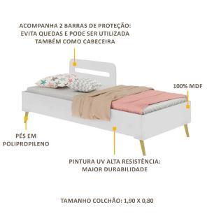 Cama Solteiro p/ colchão 88 x 188 cm Grades Proteção Pé Retrô Vintage Prime Multimóveis Bco/Natural