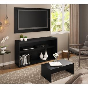 Rack c/Painel TV até 50 Pol.Mesa de apoio Atualle Multimóveis Preto Texturizado REF. 2839