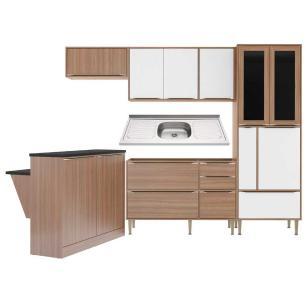 Cozinha Compacta com Pia Inox e Bancada 6 peças Calábria Multimóveis MP3226 Madeirado/Branco