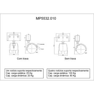 4 Rodinhas Para Berço Rodízio Roda Chapa U 15mm 100KG