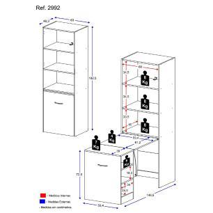 Armário multifuncional/multiuso e mesa retrátil com organizador Multimóveis