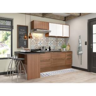 Cozinha Completa Multimóveis com 6 peças Calábria 5455R Nogueira/Branco