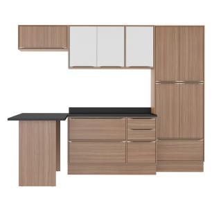 Cozinha Completa Multimóveis com 8 peças Calábria 5454R Nogueira/Branco