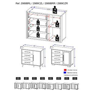 Cômoda 100% MDF 1 porta e 4 gav Travessura Multimóveis, puxadores redondos e pés quadrados Bco/Pto