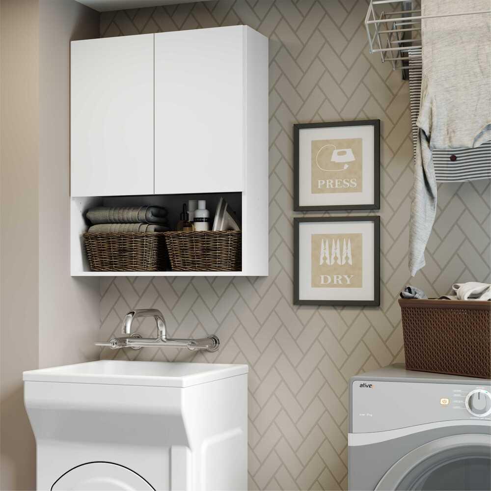 Armário de Banheiro/Lavanderia com 02 Portas Multimóveis Branco