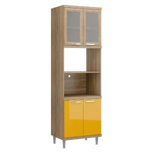 Paneleiro Multimóveis Sicília para forno e micro com vidro 5120 Argila/Amarelo