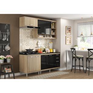 Cozinha Completa Multimóveis com 5 peças Sicília 5811 Argila/Preto