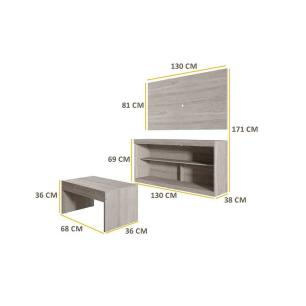 Rack c/Painel TV até 47 Pol Mesa Centro Inovare Multimóveis Carvalle Acetinado Texturizado