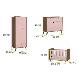 Quarto Completo Infantil Retrô Maria Multimóveis Avelã/Rosa com Berço Americano + Guarda roupa 2 Portas + Cômoda Vintage