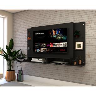 Painel para TV até 60 polegadas com prateleiras de vidro Braga Multimóveis Preto