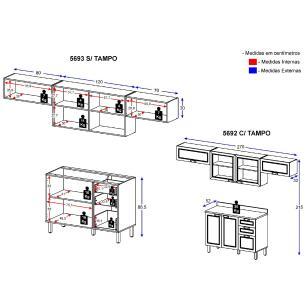 Cozinha Completa 5 peças Americana Multimóveis 5692 Branco/Grafite