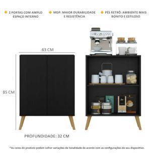 Aparador Cantinho do Café com Pés Retrô e 2 Portas Multimóveis Preto/Natural