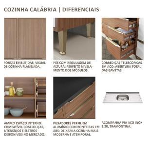 Cozinha Compacta com Pia Inox e Rodapé 7 peças Calábria Multimóveis MP3206 Madeirado/Branco