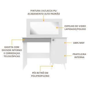 Penteadeira Escrivaninha 100% MDF c/ espelho, 1 pta, 1 gav c/ organiz Doçura Multimóveis Bco/Cza/Bco