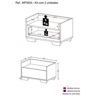 Kit com 2 Mesas de Cabeceira 60 cm com Pés Quadrados Multimóveis Preta/Branca