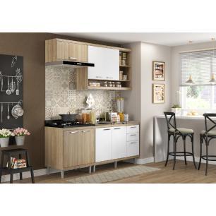 Cozinha Compacta com Pia Inox 5 peças Sicília Multimóveis MP3211 Madeirado/Branco