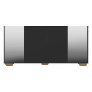 Aparador Buffet com Espelho e Pés Quadrados Vegas Multimóveis Preto/Natural