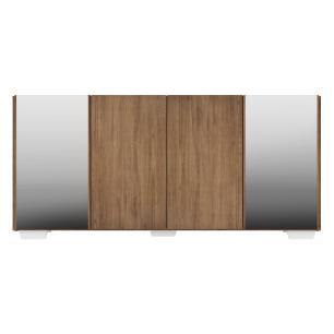 Aparador Buffet com Espelho e Pés Quadrados Vegas Multimóveis Rustic/Branco