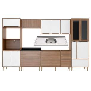 Cozinha Compacta com Pia Inox 7 peças Calábria Multimóveis MP3215 Madeirado/Branco
