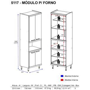 Paneleiro Multimóveis Sicília para forno 5117 Argila/Branco