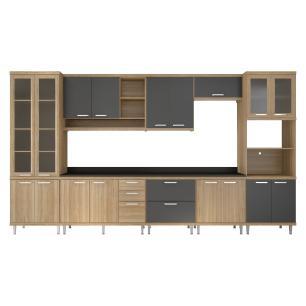 Cozinha Completa Multimóveis com 8 peças Sicília 5806 Argila/Grafite