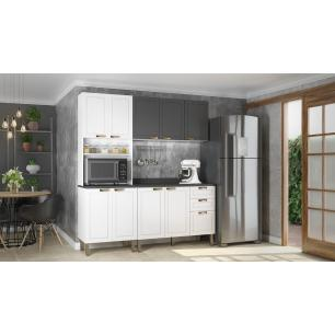 Cozinha Completa 4 peças Americana Multimóveis 5906 Branco/Grafite