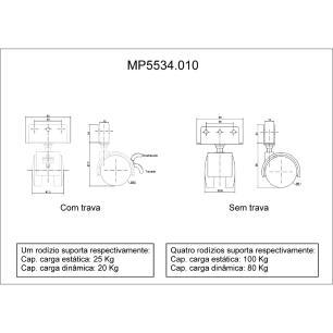 4 Rodinhas Para Berço Rodízio Roda Chapa U 12mm 100KG