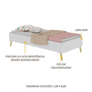 Cama Solteiro para colchão 88 x 188 cm 100% MDF c/ Pé Retrô Vintage Prime Multimóveis Branco/Natural