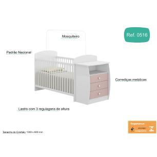 Berço Multimóveis Rafael com Gavetas Branco/Rosa para colchão 130x60 REF. 0516