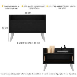 Kit com 2 Mesas de Cabeceira 60 cm com Pés Retrô Multimóveis Preta/Branca
