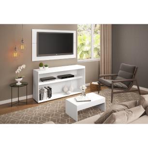 Rack com painel para TV até 50 polegadas e mesa de centro Bragança Multimóveis Branco