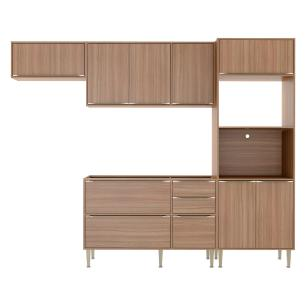 Cozinha Compacta Multimóveis com 4 peças Calábria 5457 Nogueira