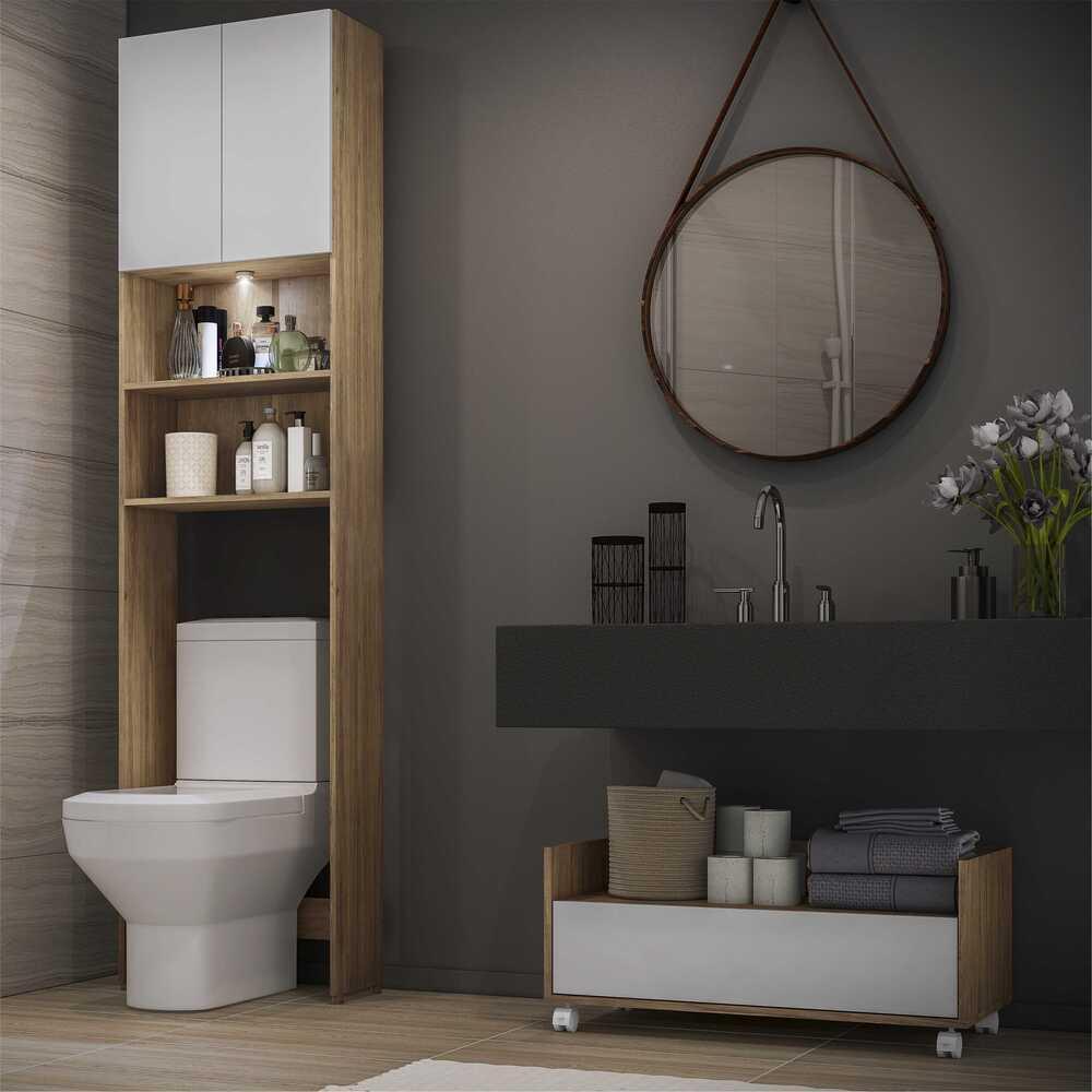 Armário Banheiro para Vaso Sanitário com Led e Balcão com Rodízios Multimóveis Branco/Rustic