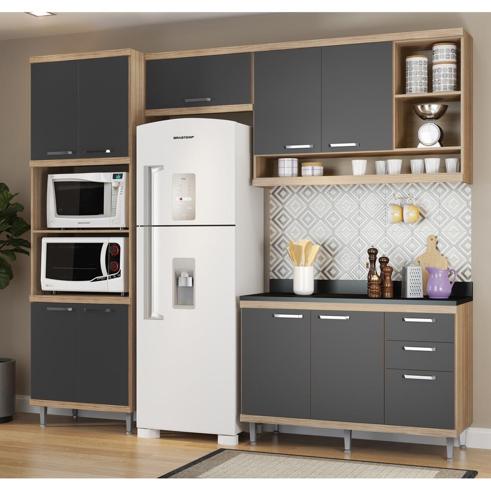 Cozinha Completa Multimóveis com 5 peças Sicília 5829 Argila/Grafite