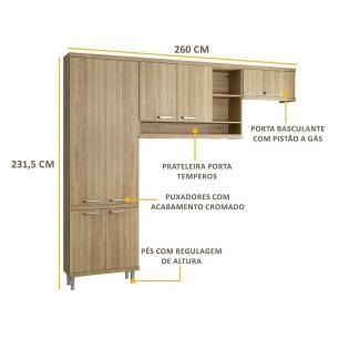Cozinha Multimóveis Sicília 3 Peças 5160 Argila