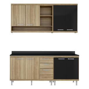 Cozinha Compacta Completa Multimóveis com 4 peças Sicília 5819 Argila/Preto