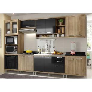 Cozinha Completa Multimóveis com 7 peças Sicília 5834 Argila/Preto