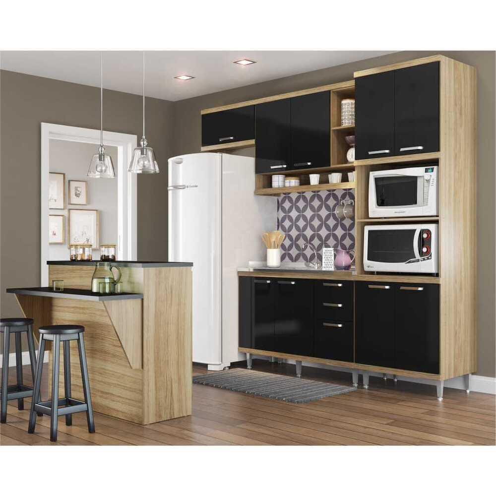 Cozinha Completa Multimóveis com 5 peças Sicília 5843 Argila/Preto