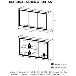Aéreo de 120 cm Multimóveis Toscana 5028 Argila/Branco c/03 Portas
