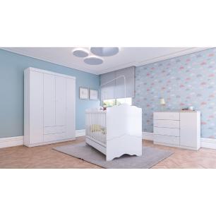 Quarto Completo infantil Helena Multimóveis Branco com Berço mini cama + Guarda roupa 4 portas + cômoda 1 Porta e 4 Gavetas